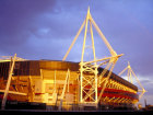 Millennium stadium at sunset, Cardiff, South Glamorgan, Wales © Britainonview / Jasmine Teer Source:VBimages - 21959942