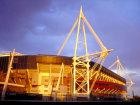 Millennium stadium at sunset, Cardiff, South Glamorgan, Wales © Britainonview / Jasmine Teer Source:VBimages - 21959942