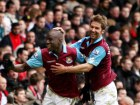 Demba Ba (L) celebrates scoring with Thomas Hitzlsperger Source:Action Images / Steven Paston