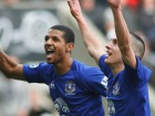 Leon Osman (R) celebrates with Jermaine Beckford Source:Action Images / Ed Sykes